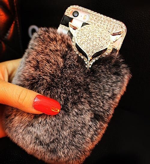 Bling Crystal Diamond Fox Design Cute Warm Soft Fluffy Rabbit Fur Case Cover