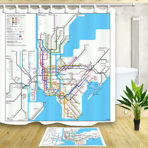 Ny Subway Map Shower Curtain.Details About New York City Subway Map 70 70 Waterproof Fabric Bath Shower Curtain 12 Hooks