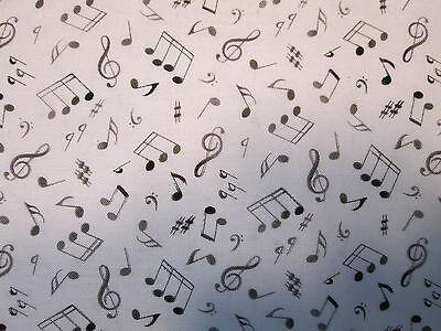 MUSIC NOTES WILD BLACK WHITE BACKGROUND COTTON FABRIC BTHY