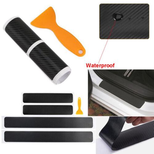4Pcs Car Accessories Door Sill Scuff Protector Stickers 4D Carbon Fiber Tool Lot