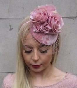 e2443cfa620f2 Blush Dusty Dusky Pink Rose Flower Birdcage Veil Hair Fascinator ...