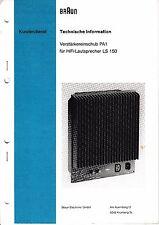 Service Manual-Anleitung für Braun PA 1 für LS 150