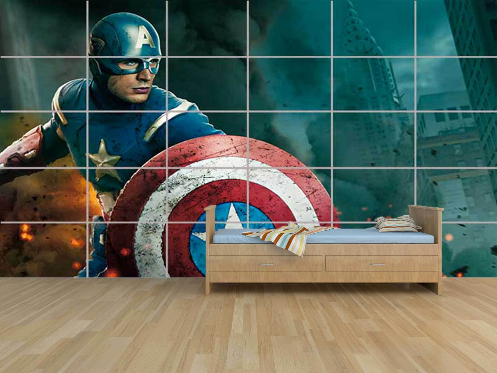THE AVENGERS CAPTAIN AMERICA GIANT KIDS CHAMBRE ENFANTS ROOM KIDS