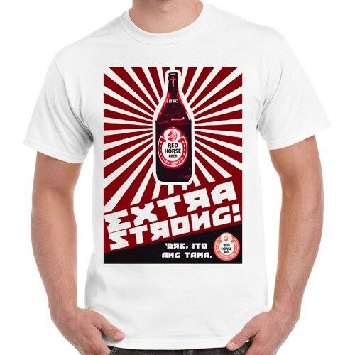 Red Horse extra forte bière logo Philippines Manille rétro t shirt 160
