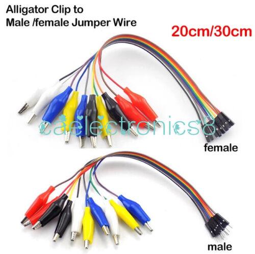 20cm 30cm Alligator Clip Test Lead 10P Male Female Breadboard Jumper Cable CA