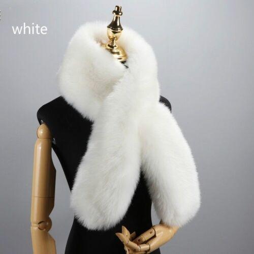 Womens Faux Fox Fur Cross Scarf Shawl Wrap Collar Stole Scarves Soft Warm Luxury