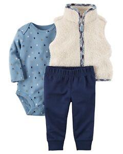 44f1fbe9d Carters Baby Boy Clothes 3 12 Months Sherpa Vest Bodysuit Pants Set ...