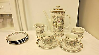 Older 11-pc Czech Josephina Louchy Teaset: Pot,Cream & Sugar, Cups & Saucers