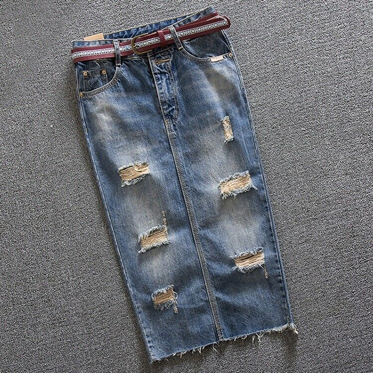 Women's Fashion High Waist Denim Long Skirt Distressed Casual Jeans Skirts Dress