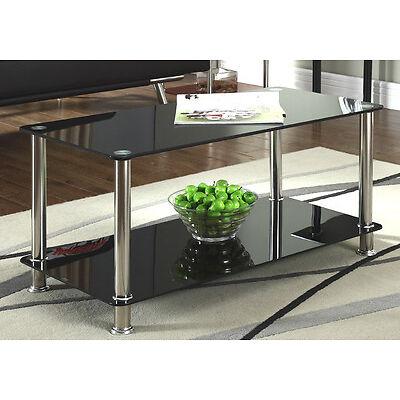 Black Glass Chrome 2 Tier Coffee Table Living Room Furniture Modern Designer New