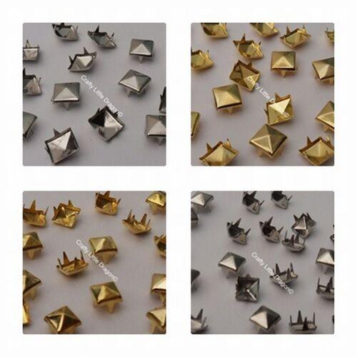100 x pyramide carré spike claw clous rivets cuir chaussures sacs punk rock