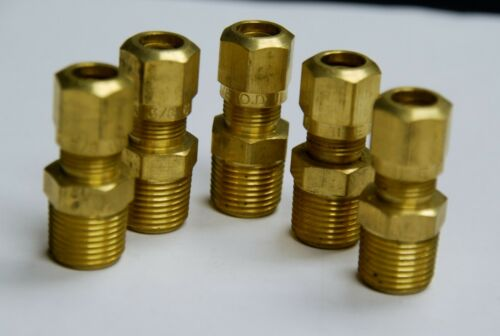 Tube OD 3//8 Brass Fittings DOT Air Brake Male Connector Male Pipe 1//2 Qty 5