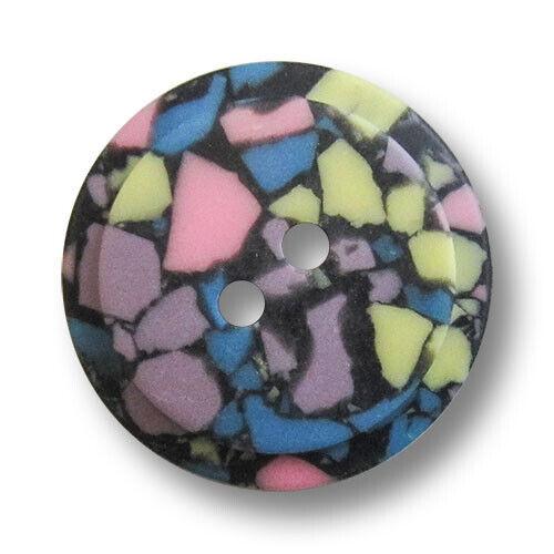 z198bu 8 schwarze Zweiloch Kunststoffknöpfe mit buntem Mosaik Muster