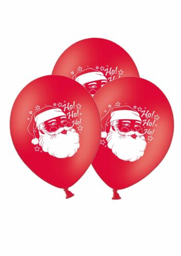 """Christmas Santa 12/"""" Printed on Red Latex Balloons By Party Decor pack of 6"""
