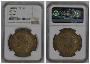 NGC-Peru-1880-5-Pesetas-B-BF-Lima-Mint-Silver-Coin-Nice-Toned-AU55