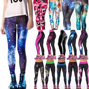 d52237061b505 Image is loading Women-Galaxy-Yoga-Gym-Fitness-Leggings-Running-Sport-