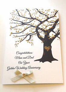 personalised golden wedding anniversary card 50th anniversary mum