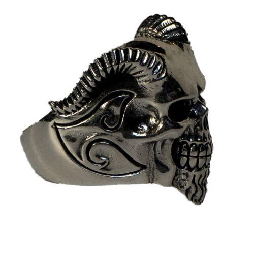 Goat Man Skull Ring .925  silver Biker Heavy Metal Gothic Demon feeanddave