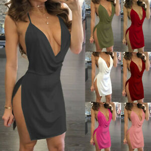 Sexy-Ladies-Womens-Deep-V-Neck-Halter-Backless-Slit-Mini-Party-Club-Dress-NEW-UK