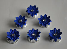 6 Curlies Haarschmuck Haarnadeln Konfirmation  Blumen  Strass blau