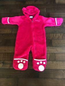 Columbia Baby Girl 9 12 Months Baby Bunting Foxy Pink Fleece Hood Ears Infant Ebay