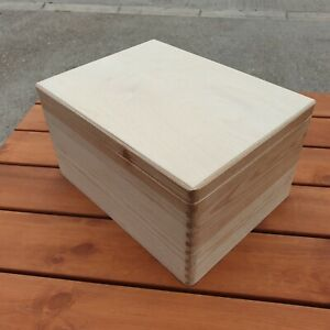 Grande Plaine Bois Boîte En Bois 40 X 30 X 23 Cm Sans Poignée Et Couvercle-afficher Le Titre D'origine