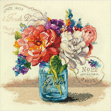 Cross Stitch Kit ~ Dimensions Floral Garden Bouquet in Glass Jar #70-35334