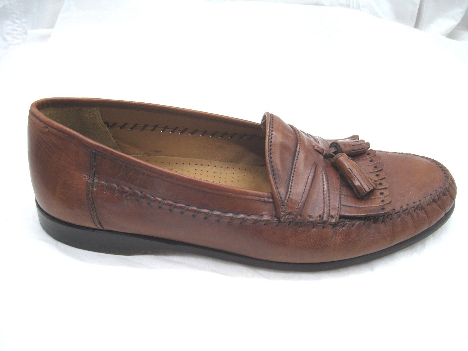 Sandro Moscolini Laser brown leather loafers Mens tassel dress shoes sz 10.5M
