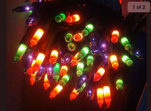 Halloween 100-Light Orange Mini String Light Set 20Ft Black Cord