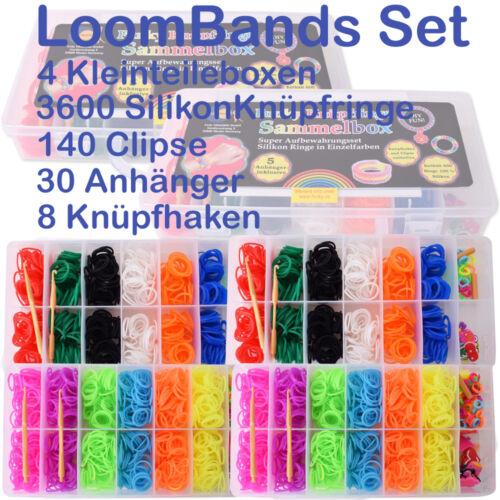 XXL Loom Loop Bands 3700 Teile Starterset Silikon Gummibänder Webhaken Bandz Set