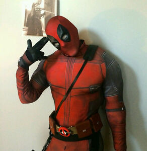 Deadpool Costume Black and Red Spandex 3D Print Cosplay Halloween ...