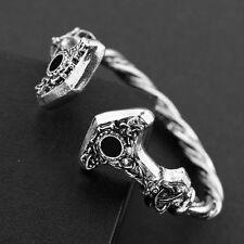 Thor's Hammer Silver Bracelet Men Women Alchemy Gothic Viking Norse Pagan Torc