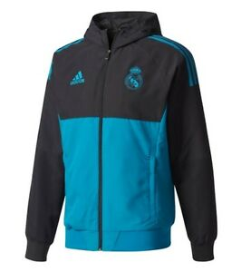 lowest price 29fcd 64e82 Details about Adidas Men Real Madrid EU PRE Hoody Jacket Training Blue RMFC  Top Jersey BQ7829
