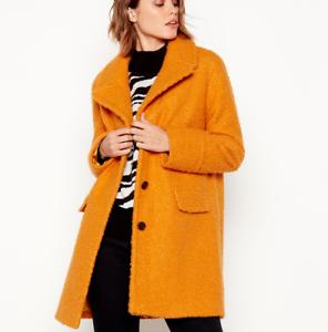 Debenhams-Principles-Yellow-Boucle-Military-Crombie-Midi-Jacket-Coat-UK-6-to-24