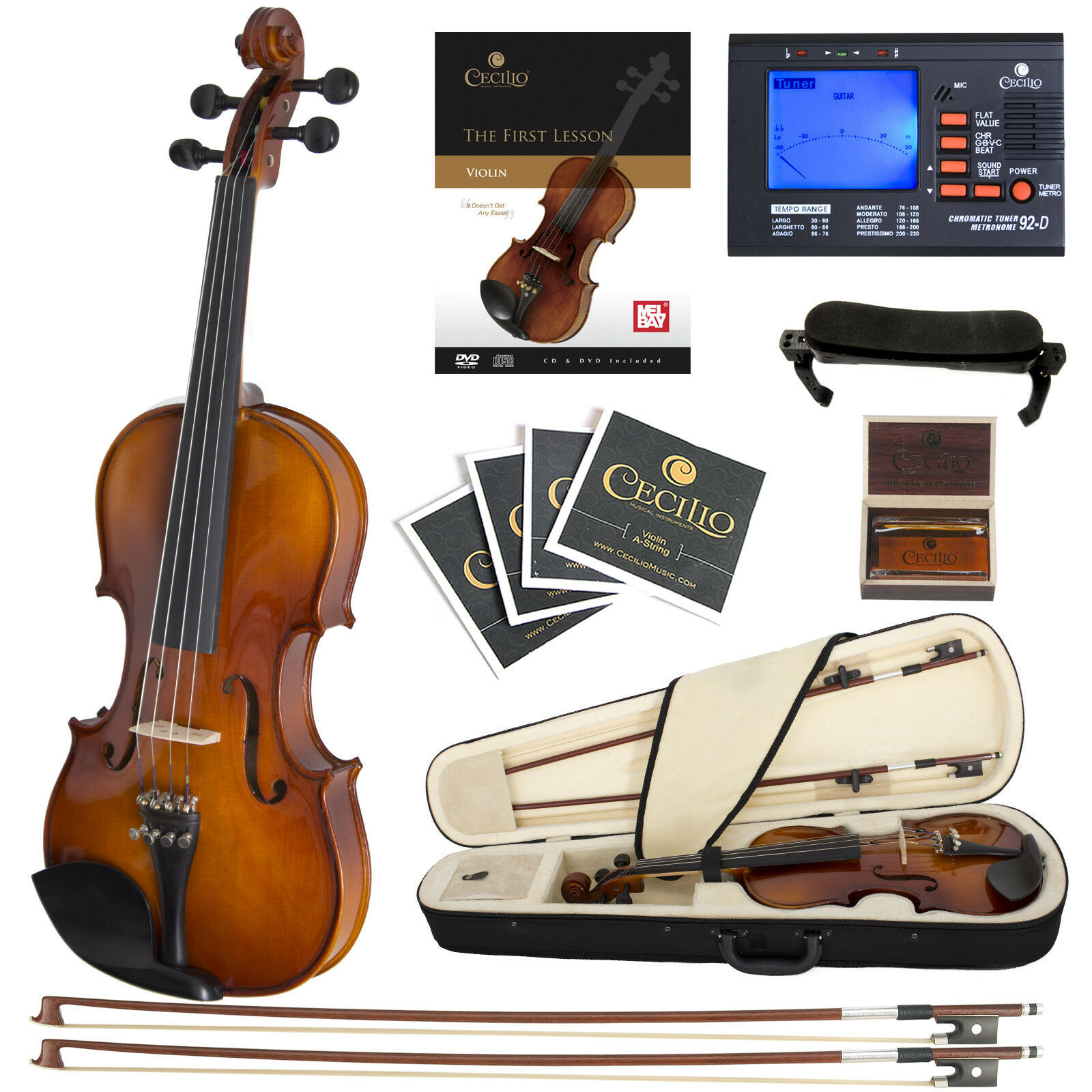 Cecilio CVN-300 Ebony Fitted Solid Wood Violin + Tuner and Lesson Book, Size 1 4