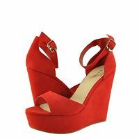 Women's Shoes Bamboo Charade 01m Casual Open Toe Platform Wedge Sandal Red