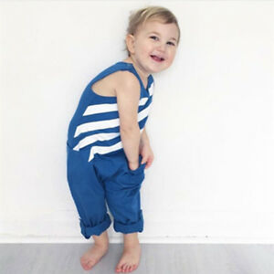 Summer Infant Kids Baby Boys Pocket Blue Striped Jumpsuit Romper Outfit Clothes