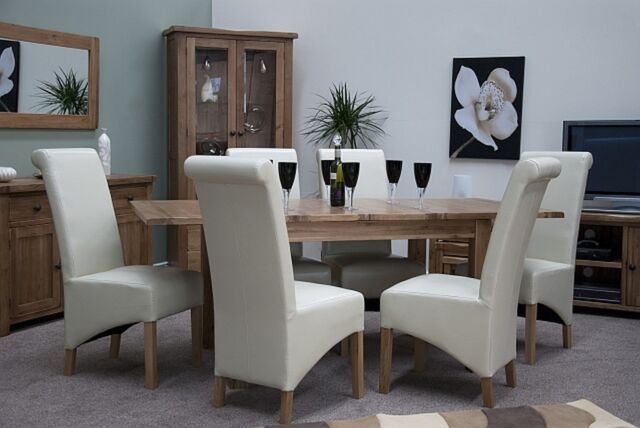 Brooklyn Solid Oak Furniture Extending Dining Table And Six Leather Chairs Set