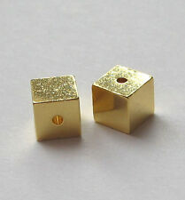 2x  Würfel 5 x 5 mm 925 Silber vergoldet Schmuckzubehör