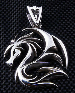 Dragon wolf tattoo 925 sterling silver mens pendant for chain image is loading dragon wolf tattoo 925 sterling silver mens pendant aloadofball Image collections