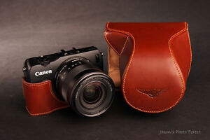 Handmade-Genuine-real-Leather-Full-Camera-Case-bag-for-CANON-EOS-M-ZOOM-Lens