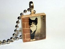 Black and White Cat - Scrabble Tile Necklace By HArtworks