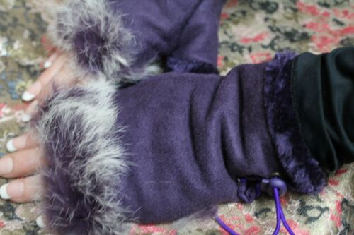 Cozy Fur Fingerless Gloves Trimmed /& Lined Vegan Leather Lace Up Adjustable