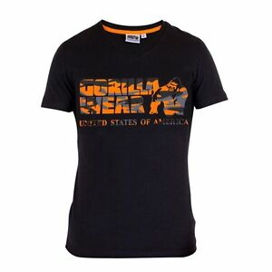 Gorilla-WEAR-Sacramento-V-Neck-T-Shirt-Noir-orange-fluo