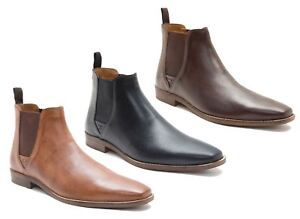 0f4befa15cd Details about Red Tape Tapton Leather Pull On Chelsea Boots Mens Pointed  Tan Black Brown Size