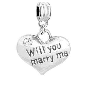 """"""" Will You Marry Me """" Marriage Heiratsantrag Herz Charm Strass Hochzeit"""