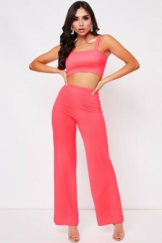 Womens Ladies Crop Top and Stretch Wide Leg Trousers two Piece Co-ord Suit Set