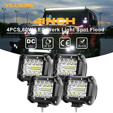 4x 4 Inch 12v 1200w Led Work Light Bar Flood Pod Driving Off Road Tractor 4wd
