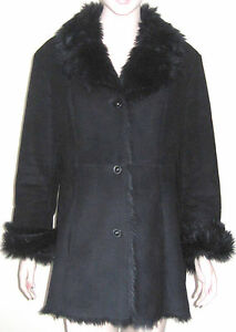 Fur Lined Sort Warm Faux M New York Trim Jones Størrelse Sueded Coat X74wxBXOq