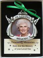 In Loving Memory Photo Ornament Memorial Angels Christmas Pewter Picture